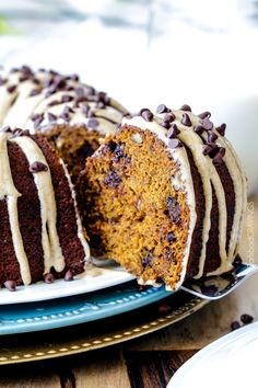 Chocolate Chip Pumpkin Pound Cake is the only pumpkin cake you need this Fall! Moist, rich pumpkin cake infused with chocolate and bathed in a velvety Cinnamon Pumpkin Cream Cheese Glaze. Pumpkin Pound Cake, Pumpkin Cake Recipes, Pound Cake Recipes, Pumpkin Dessert, Pumpkin Cakes, Pie Recipes, Cakes To Make, Chocolate Bundt Cake, Pumpkin Chocolate Chips