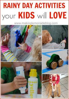 10 FUN Rainy Day Activities your Kids will LOVE (and so will you!) #kids #activities via www.makinglemonadeblog.com