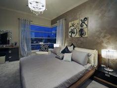 Modern bedroom design idea with carpet & built-in desk using brown colours - Bedroom photo 159387