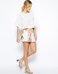 ASOS High Waisted Shorts in Textured Floral Print