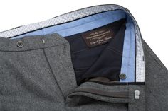 Benevento Medium Grey 100% Wool Flannel Trousers 100'S made of Vitali Barberis Canonico fabric, available in pre-order at www.beneventoclth.com