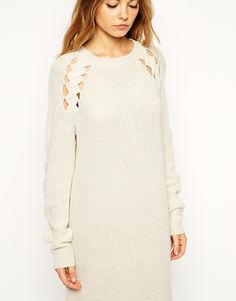 Enlarge ASOS Midi Sweater Dress With Cut Out Cable Detail
