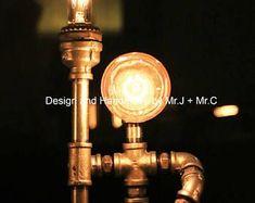 Concepteur Eclairage industriel BBE - lampe Steampunk lampe Edison Vintage Light Water Pipe lampe de chevet rustique lampe de Table #LampDeChevet