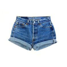 ALL SIZES Women Levi High Waisted Denim Shorts Vinatge small medium... ❤ liked on Polyvore featuring shorts, highwaist shorts, vintage denim shorts, high rise shorts, short jean shorts and high rise denim shorts