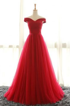 Off the Shoulder Prom Dresses, Red Prom Dress, A Line Evening Dresses, Pleated Prom Gown, Long Party Dresses, Red Formal Dresses, Prom Dress by lass, $148.00 USD