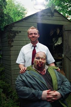 Simon Pegg on the set of Shaun of the Dead