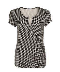 V-neck Crossover Top, Black/White Print