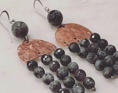 Copper & stone earrings,Chandelier earrings,Labradorite stone earrings,Handcrafted earrings,Handmade jewelry