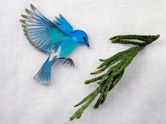 Mountain Bluebird in Flight Shrink Plastic Charm