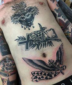 Progress on traditional front tattoo done by Capilli! #sunsettattoonz