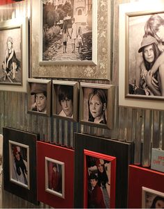 Cool corrugated metal behind the pictures...