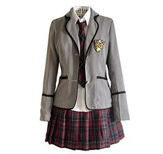 cfa454facf Japan School Uniform girls Dress Cosplay Costume Anime long sleeve Suit  coat Shirt with Pleated Skirt (uk 16(Asian size XXL)