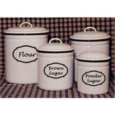 labeled canisters: flour, sugar, brown sugar, powdered Sugar, Salt, Coffee, Rice