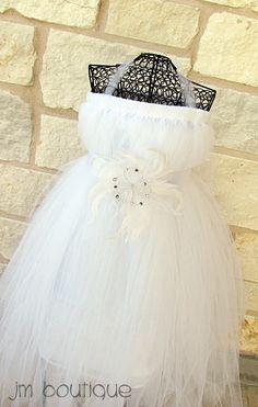 407e3aa14 @Meghan Shaffer - White Flower Girl Dress with Rhinestone Feather Flower  for Wedding. $59.99