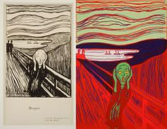 """Edvard Munch, """"The Scream"""" (1895), lithograph in black on heavy white wove paper, 13 3/4 x 9 3/4  Andy Warhol, """"The Scream (After Munch)"""" (1984), screen print on Lenox Museum Board, 40 x 32"""