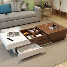 Modern Chic Extendable Coffee Table with Storage Sliding Top Coffee Table Manufactured Wood in White & Walnut / White & Black - Coffee Tables - Living Room Furniture - Furniture Stylish Coffee Table, Modern Coffee Tables, Coffee Table With Storage, Modern Sofa Table, End Tables With Storage, Home Decor Furniture, Luxury Furniture, Modern Furniture, Furniture Design