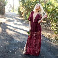 deef23103a8 Wine   Dine Embroidered Maxi Dress in Merlot