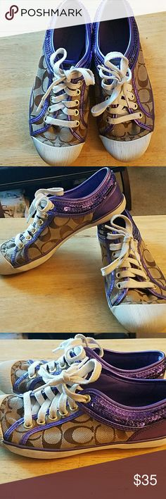 Coach sneakers Brown with purple sequins. Good condition. Style-Zora Coach Shoes Sneakers