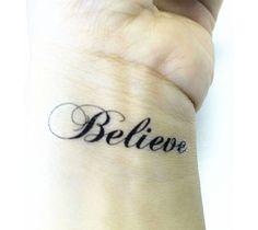 Fashion Black Script Letter, Believe Tempopary Tattoo,Finger, Shoulder, Arm,Body Tattoo