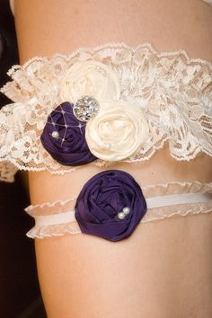 Deep Purple Wedding Garter Set- Couture Lace Bridal Garter includes Toss Garter. $39.50, via Etsy.