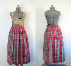 Winter Plaid Taffeta Skirt With Pockets by rileybellavintage, $30.00