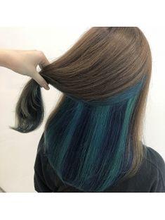 【Lee Shinsaibashi】インナーカラー×エメラルド、グリーン Teal Hair Color, Pretty Hair Color, Blue Hair, Hidden Hair Color, Pelo Color Azul, Creative Hair Color, Underlights Hair, Blonde Hair Looks, Foto Casual