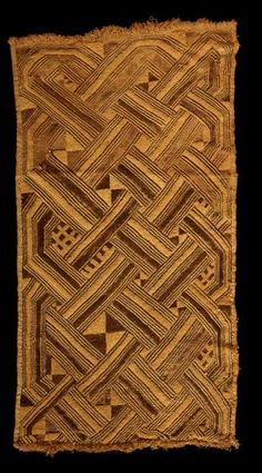 Africa | Kuba cloth. Shoowa group, Kuba peoples. DR Congo | Early 20th century | Raffia, dye | This piece of raffia cloth is typical of that made by the Shoowa, a Kuba group that lives south of the Sankuru River. Its style--with an overall balanced pattern, deep plush and even lines--is what the Shoowa make for their own use, and it differs markedly from the style used on pieces made for export to other Kuba groups.