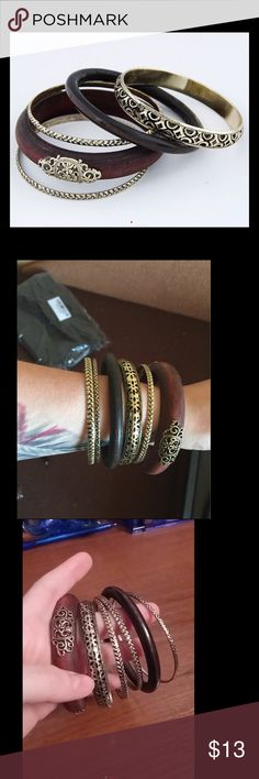 New Vintage Gold Plated Wood bracelets bangles New Vintage Gold Plated Wood Maxi bracelets bangles  Indian Layered Statement Bangle for Women Jewelry Bracelets