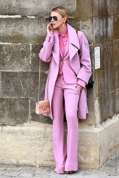having a major pink moment. bonkers, pink power suit, pink suit and matching pink coat look, Pink Trousers, Trouser Suits, Women's Pants, Pink Pants, Pink Fashion, Love Fashion, Womens Fashion, Fashion Beauty, Fashion Details