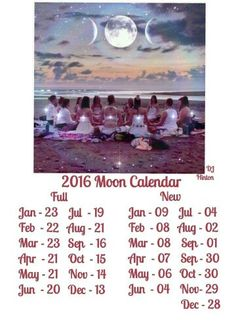2016 Full Moon calendar. Dates may vary slightly by time zone.