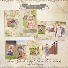 Secret Garden 4x8 Accordion book templates for by 7thavenuedesigns, $10.00
