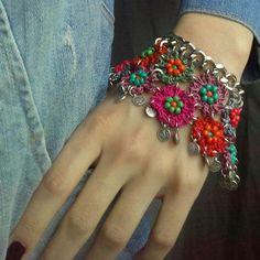 Items similar to Boho bracelet - Bohemian bracelet - Rope Bracelet - Crochet Rope Bracelet - Chain Bracelet - Bracelet - Bronze Chain Bracelet on Etsy Bohemian Bracelets, Bohemian Jewelry, Cuff Bracelets, Macrame Bracelet Diy, Crochet Bracelet, Crochet Rope, Bead Caps, Crochet Accessories, Handmade