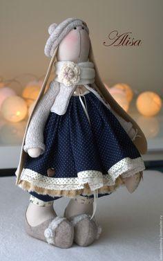 Купить Зaйка Alisa - текстильная игрушка , 38 см - коричневый, Тильда Зайка, зайчик игрушка