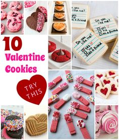 10 cookie recipes for Valentines Day that are easy and quick. Perfect for Valentines Day and upcoming kids school parties.