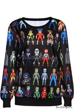 742b1123d5b Super Heroes Print Round Neck Long Sleeve Sweatshirt