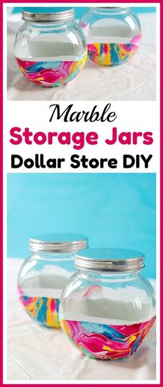 Dollar Store DIY Marble Storage Jars - Store bulk goods, candies, and more in style with these DIY marble storage jars! This easy project can be done with just dollar store supplies!   dollar store DIY, dollar store craft, dollar store organizing, painted jar, how to paint a glass jar, easy craft, nail polish craft, DIY storage