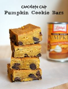 Chocolate Chip Pumpkin Cookie Bars Recipe - an interesting twist on pumpkin cookies and blondie bars! These are a great Thanksgiving dessert recipe or just a fun fall treat recipe!