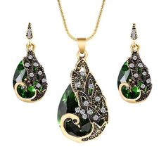 Peacock Tear Drop Jewelry Set – DiamonChic Party Gifts, Earring Set, Jewelry Sets, Peacock, Opal, Pendant Necklace, Drop Earrings, Stuff To Buy, Accessories