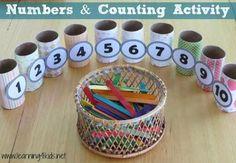 1-10 arası sayma ve rakam eşleştirme çalışması. Tuvalet kağıdı rulosu ve dondurma çubukları ile yapılabilecek güzel bir etkinlik. – Okul Öncesi Sanat Etkinlikleri – Preschool Craft Activities