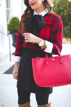 holiday look, holiday outfits, red tory burch robinson tote, red tory burch purse, christmas wreath, tie neck blouse, plaid sweater, kendra scott double ring, christmas look, holiday outfit ideas, holiday party look // grace wainwright from a southern drawl