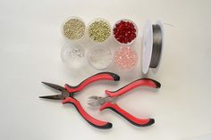 Supplies in making the red and pink crystal dancing clovers bracelet:
