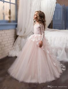 2017 New Princess Hot Pink Long Sleeves Ball Gown Flower Girl Dress Sweep Train Girls First Communion Dress Girls Lace Wedding Party Dresses Flower Girl Dresses Girls Christmas Dress Girls Communion Dresses Online with $78.86/Piece on Mfsdresses's Store | DHgate.com