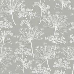 Cow Parsley Dandelion Floral Wallpaper, Hand Painted Cow Parsley Home Decor, Dandelion Design Cow Pa Dandelion Wallpaper, Clock Wallpaper, Dandelion Clock, Grey Wallpaper, Modern Wallpaper, Wallpaper Samples, Print Wallpaper, Room Wallpaper, Luxury Wallpaper