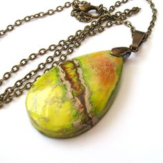 Green and Yellow Jasper Teardrop Necklace with Bronze Chain by TemporalFlux on Etsy