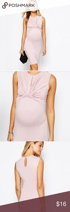 ASOS Maternity PETITE Knot Front Bodycon Dress Maternity dress by ASOS Maternity PETITE |Blush color. Size 2 petite. Never worn but tags have been removed-it has been washed once and hung to dry. Soft-touch jersey Scoop neckline Sleeveless design Knot-front detail Keyhole button back Close-cut body-conscious fit Designed to fit through all stages of pregnancy from 3 months onward.  Machine wash 95% Viscose, 5% Elastane. No Trades. ASOS Maternity Dresses Mini