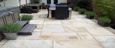 Indian Sandstone: Sample laid patio using our quality Indian Sandstone paving Sandstone Paving, Paving Slabs, Paving Stones, Pool Paving, Stepping Stones, Concrete Patios, Flagstone Patio, Garden Paving, Terrace Garden