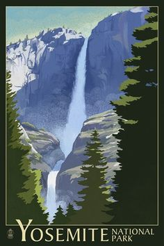 Yosemite Falls Yosemite National Park California Lithography Art Print Wall Decor Travel Poster -- Continue to the product at the image link. (This is an affiliate link) Yosemite Mountains, Yosemite California, Yosemite Falls, California National Parks, California Camping, Us National Parks, California Usa, Retro Poster, Vintage Travel Posters