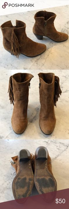 Brown suede boots Sam Edelman, Louie Fringe. Brown suede ankle bootie with side fringe. Side zip, 2 inch cowboy heel. Little wear, great condition. Sam Edelman Shoes Ankle Boots & Booties