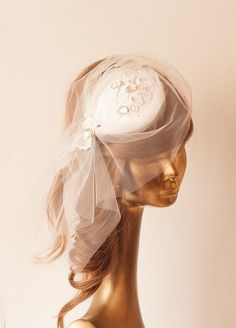 Bridal FASCINATOR with Ivory Tulle BIRDCAGE VEIL by ancoraboutique, $132.00