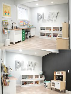 Creative, modern and fresh play space for kids including toy storage and an art area. How cute are the P-L-A-Y letters on the wall?! Great idea for a playroom.